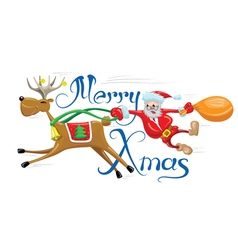 Santa with reindeer vector