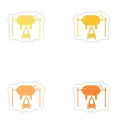 Set of paper stickers on white background pig on vector