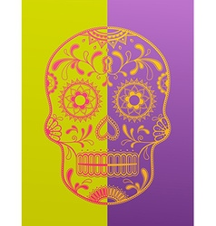 Sugar skull day of the dead in two color vector