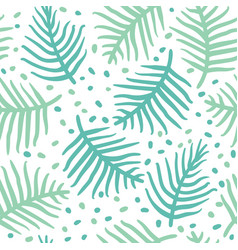 Tropical blue palm or ferm leaves seamless vector