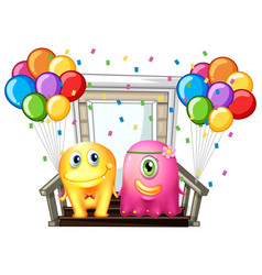 two monsters and colorful balloons vector image vector image