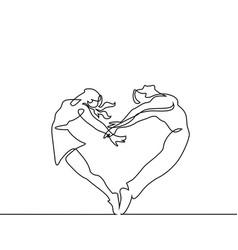 Two people couple make heart in jump vector