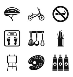 Wee icons set simple style vector
