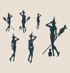 young witch icons set witches silhouettes vector image
