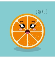 Cartoon orange sliced fruit facial expression vector