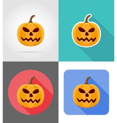 pumpkins for halloween flat icons 08 vector image
