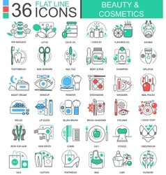 Beauty cosmetics flat line outline icons vector