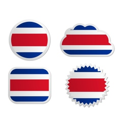 Costa Rica flag labels vector image