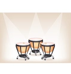 Classical timpanis on brown stage background vector