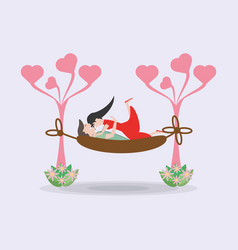 Couple together hammock tree vector