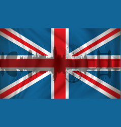 flag of united kingdom with london skyline vector image