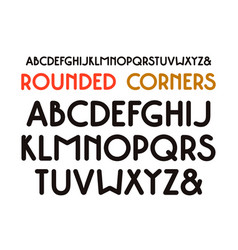 decorative sans serif font with rounded corners vector image