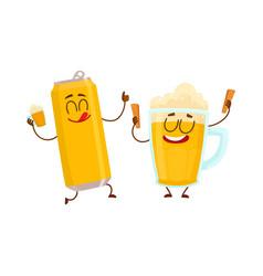 funny beer can and mug characters having fun vector image