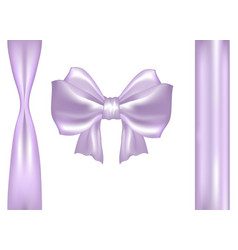 Pastel pink purple satin bow with ribbons vector