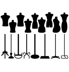 Set of different tailors mannequin vector image