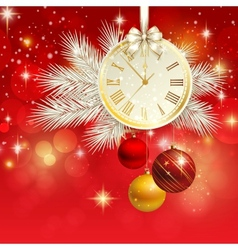 New year background with gold clock vector