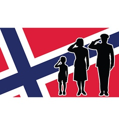 Norway soldier family salute vector