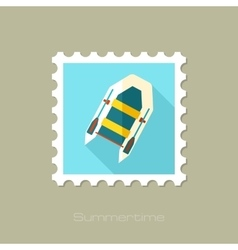 Inflatable boat flat stamp with long shadow vector