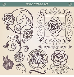 Rose tattoo floral silhouette set vector