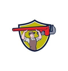 Plumber lifting monkey wrench crest cartoon vector