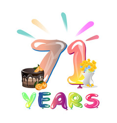 71 years anniversary greeting card vector image vector image