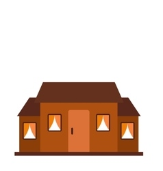 Small brown cottage icon vector