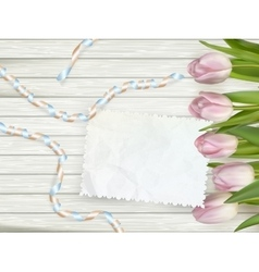Bouquet of tulips on rustic wooden board eps 10 vector