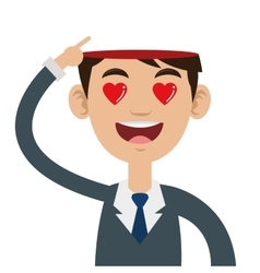 Person with open head and heart eyes vector