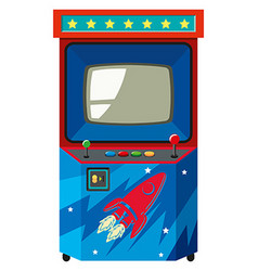 Arcade game machine with space theme vector