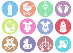 Baby boy and girl icons vector image