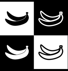 Banana simple sign black and white icons vector