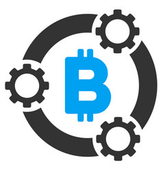 Bitcoin pool collaboration flat icon vector