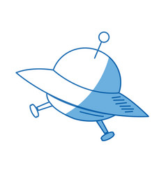 Cartoon ufo ship space transport icon vector