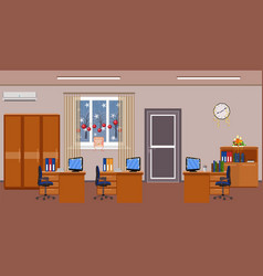 Christmas office room interior decoration holiday vector