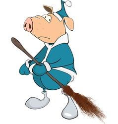 Cute pig yard keeper cartoon vector