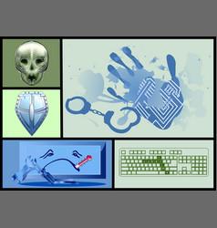 Cyber crime set vector