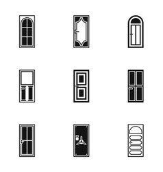Exterior doors icons set simple style vector
