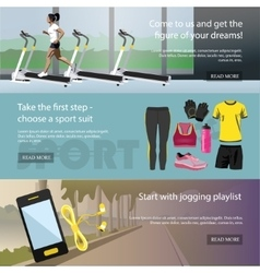 Fitness horizontal banners set Sport equipment vector image vector image