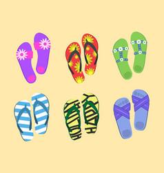 flip flops set colorful beach wear men s and vector image vector image