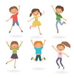 group of children jumping vector image