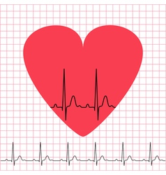 Heart icon with electrocardiogram on grid vector