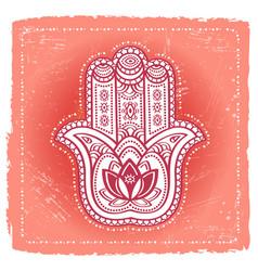 Indian hand hamsa on ethnic background vector