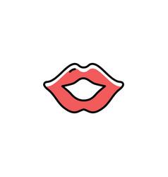 Lips icon thin line art design flat vector