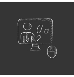 Online education drawn in chalk icon vector