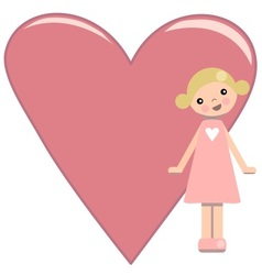 Peg doll girl with pink heart vector