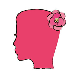Pink silhouette mother flower concept vector