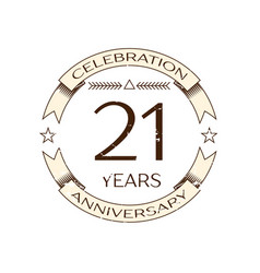 Realistic twenty one years anniversary celebration vector