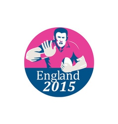 Rugby Player Fending England 2015 Circle vector image vector image