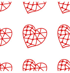 Seamless pattern of decorative red hearts vector