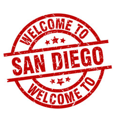 Welcome to san diego red stamp vector